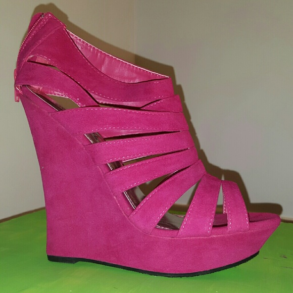 b8fdb33dad Rouge Helium Shoes | Hot Pink Suede Wedge Sandals | Poshmark