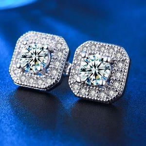 Jewelry - 18K White Gold Plated CZ Diamond Square  Stud