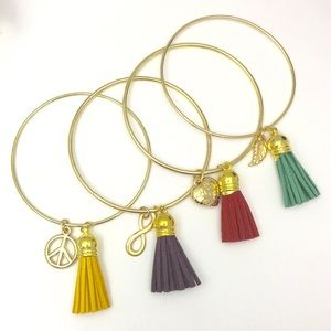 GET ALL 4 - Tassel Bangles with Charms
