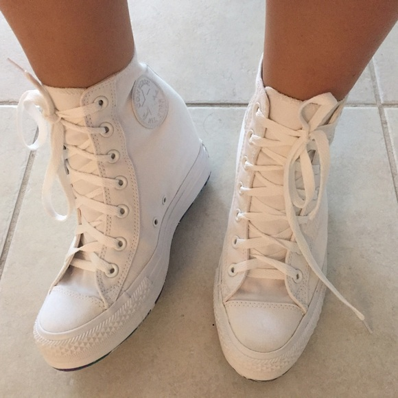 ee1784c4d6f89f Converse Shoes - Converse All Star white wedges hi tops 9 - mint!