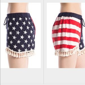 Pants - American flag shorts with tassels