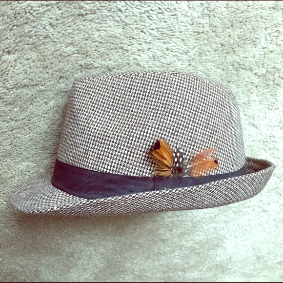 Tweed Fedora Hat with Feather 5825f980426