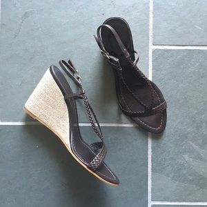 J. Crew brown leather braided wedges