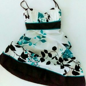  ⬇Sweetheart Neck Sundress Turquoise & Brown