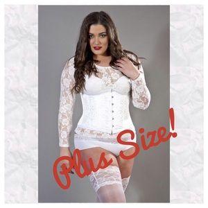White brocade plus size underbust corset NWTs! 