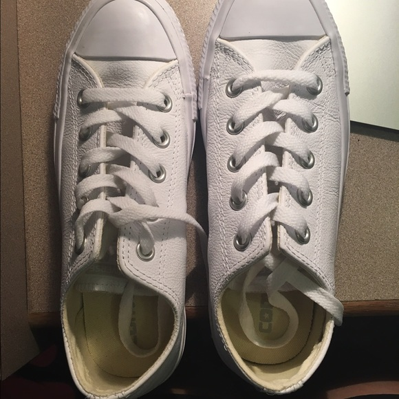 0285fd47bbc Converse Shoes - All White Leather Converse size 6 (women)