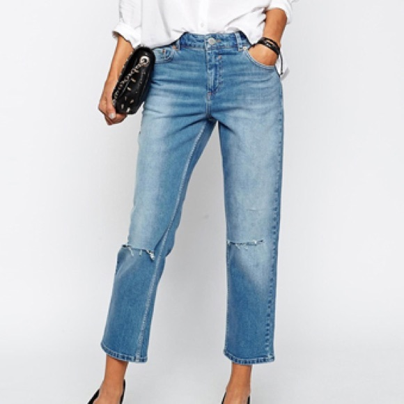 b8c4d3a7b8 ASOS Denim - ASOS Thea Midrise Cropped Girlfriend Jeans
