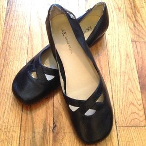Vintage Black Leather Flats