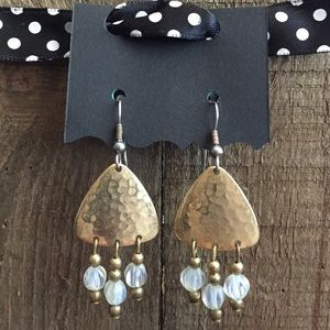 Jewelry - Authentic Brass & Moonstone Earrings