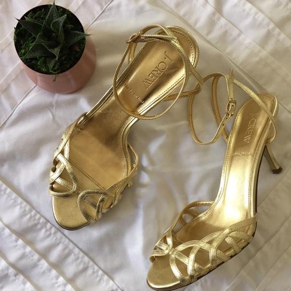 9fd0373919c J.CREW Faye gold kitten heel sandals