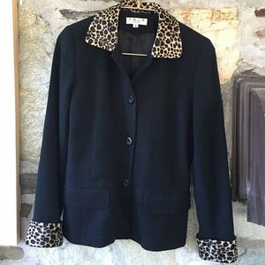 Vintage Jackets & Blazers - Black Blazer with Leopard Collar & Sleeve Accents!