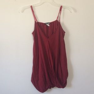 Tops - Red V Neck Dressy Tank (Size Small)