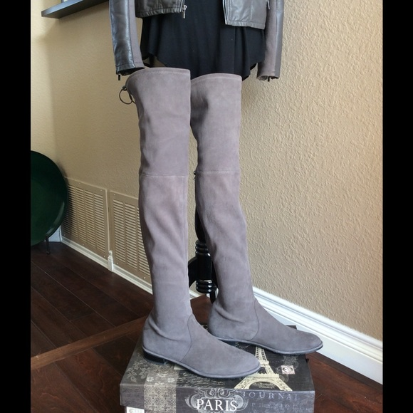 Stuart Weitzman Shoes Grey Suede Lowland Boots Poshmark