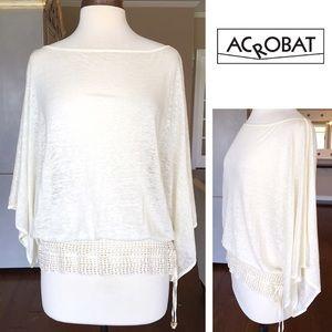 Acrobat Tops - New ACROBAT Linen Boho Top Dolman Lace S