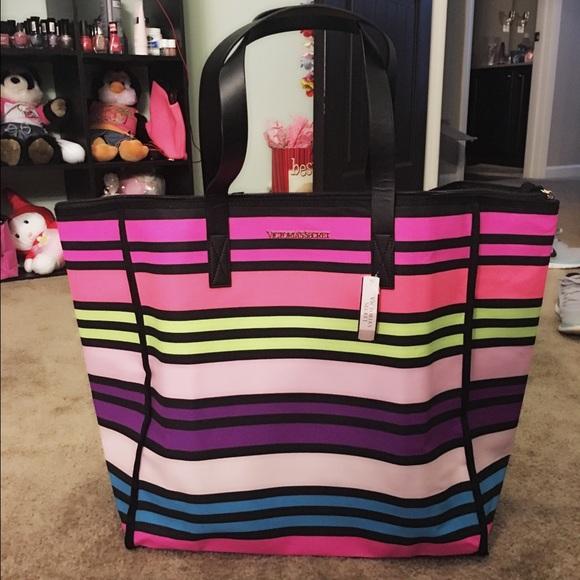 f013f6e86490c Victoria secret multi color tote bag NWT