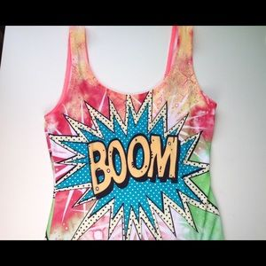 """Boutique Tops - NEW """"Boom"""" Comic Body Suit"""