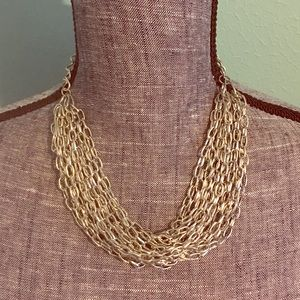 Multi-strand Silver Statement Chains Necklace NWT