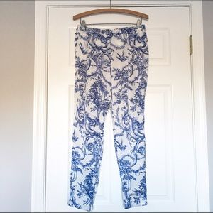 Zara blue and white silk pants