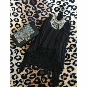 Urban Outfitters Black Fringe Tunic Top