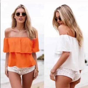 Adorable off the shoulder ruffle top