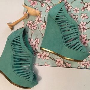 Liliana Shoes - Lilianaturquoise faux suede tall wedges lovely 6