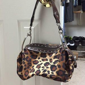 Kathy Van Zeeland small leopard shoulder bag