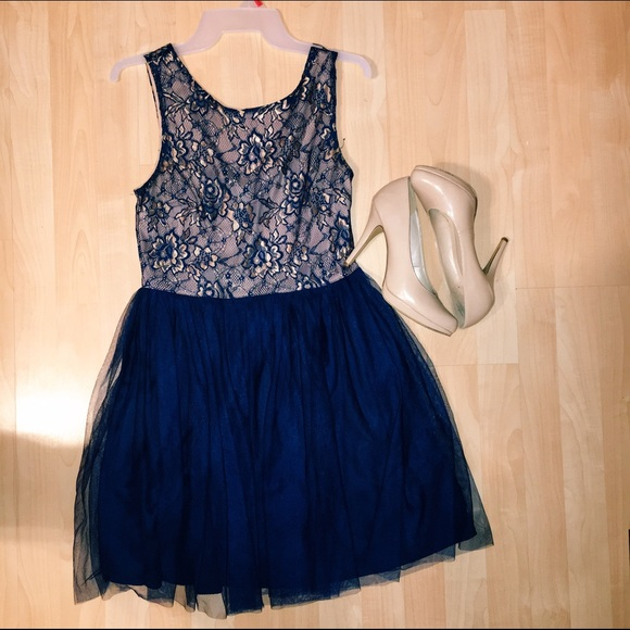 Navy Lace Tulle Dress
