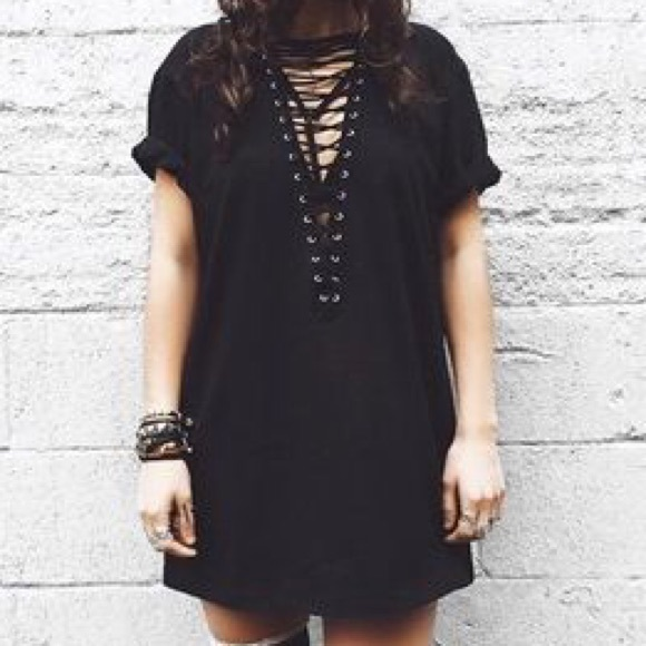 LF Tops - Oversized lace up t shirt dress 6dbf1d195
