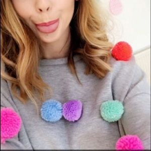 NWT! ASOS Sold Out Pom Pom Jumper Sweater Cropped