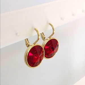  Ruby Earrings made with Swarovski Crystals