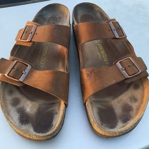 3fb1d10fab7898 Birkenstock Shoes - BIRKENSTOCK MENS LEATHER 2 STRAP SANDALS 14