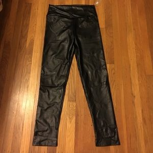 Pants - High waisted-faux pleather leggings