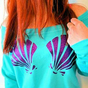 M ⭐ Aqua & Purple Mermaid Glitter Sweater