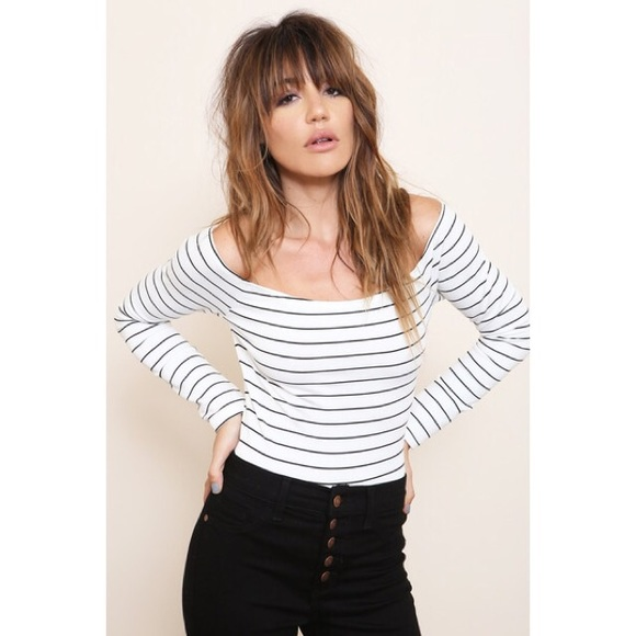 2141b63dcfcd0 White Black Striped Off Shoulder Long Sleeve Top