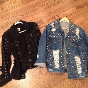 vintage studded jean jackets one size