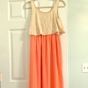 Dresses & Skirts - Maxi summer coral and cream dress