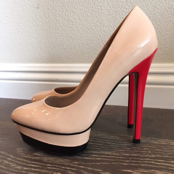417903f1e681 Zara Patent Leather Nude Black Red Platform Heels.  M 56fb44a678b31c9e56018d16
