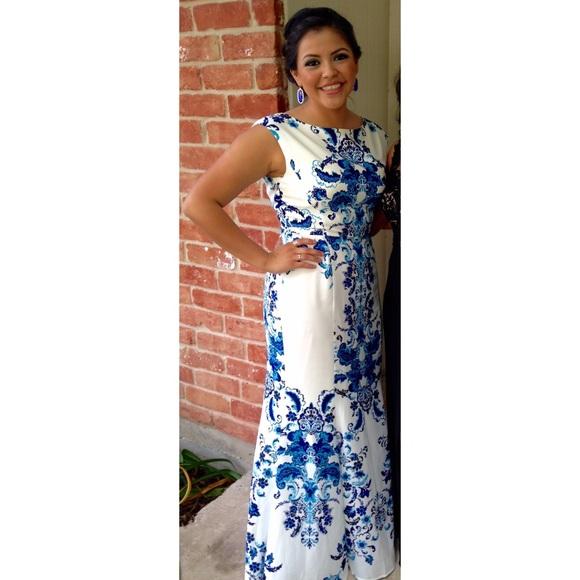 30% off Eliza J Dresses Print Crepe De Chine Mermaid Gown   Poshmark