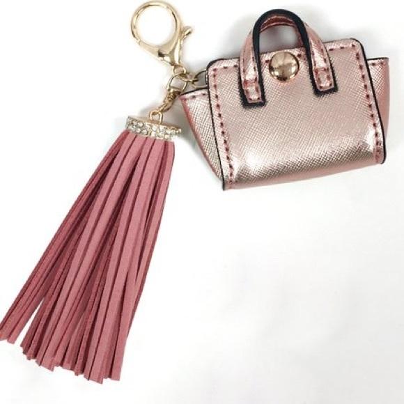 Rose Gold Mini Faux Suede Tassel Bag Charm 78669626311d0