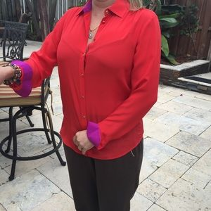 Banana Republic Red Blousesilk