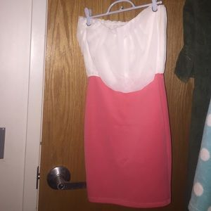 Cute little salmon and white strapless dress