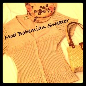 Vintage Bohemian Tan Sweater with Gorgeous Weaves