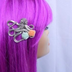Abbie's Anchor Accessories - Octopus hair clip with mint & coral roses