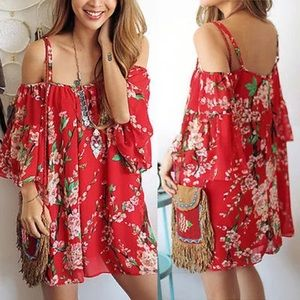 Sheer Red floral boho off shoulder dress coverup