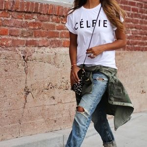 White Celfie fashion graphic t tee shirt top