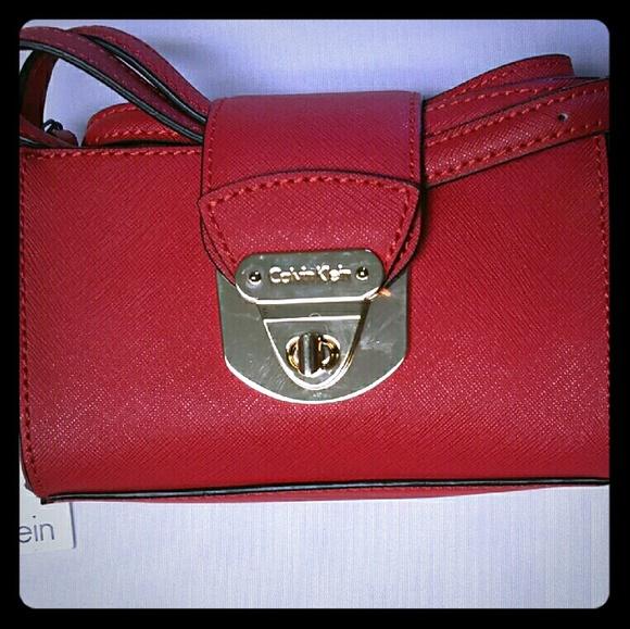 332850342a1e Calvin Klein Bags | Mini Saffiano Leather Crossbody Red | Poshmark