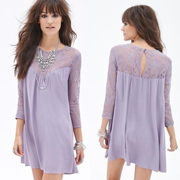 27e151cfb78 F21 || Purple Lace Shift Dress