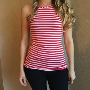 Tops - Red & White Striped Racerback Tank