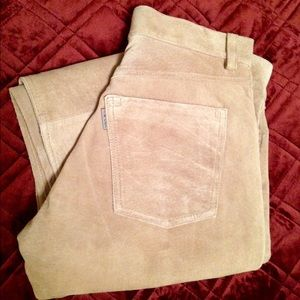 Tan suede 5 pocket button fly jeans
