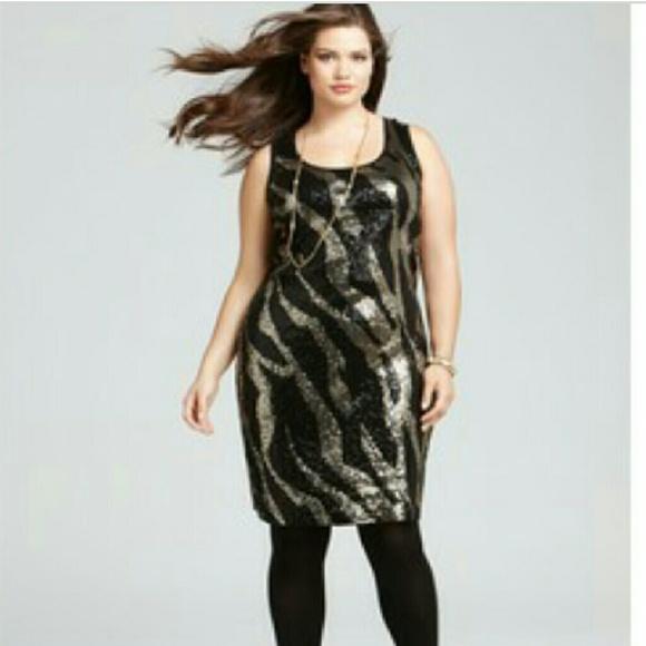 Michael Kors Dresses | Plus Size Zebra Sequin Dress | Poshmark